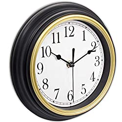 45Min 9 Inch Retro Wall Clocks, Silent Non Ticking Round Home/Wall Decor Easy to Read Battery Operated Wall Clock with Arabic Numerals
