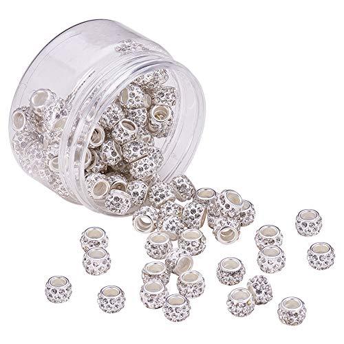 P//D:5 European Perlen Beads Spacer Weiß Strass Vergoldet 11mm x8mm