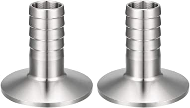 uxcell 2 Pcs Sanitary Fitting 1.5 inches Tri Clamp to 3/4 inches Hose Barbed Adapter Pipe Coupling
