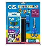 Kit com 9 peças 1 caixa de lápis de cor 12 cores 4 lápis preto HB, 1 apontador e 1 borracha 1 tesoura de 13 cm 1 cola bastão com 8g