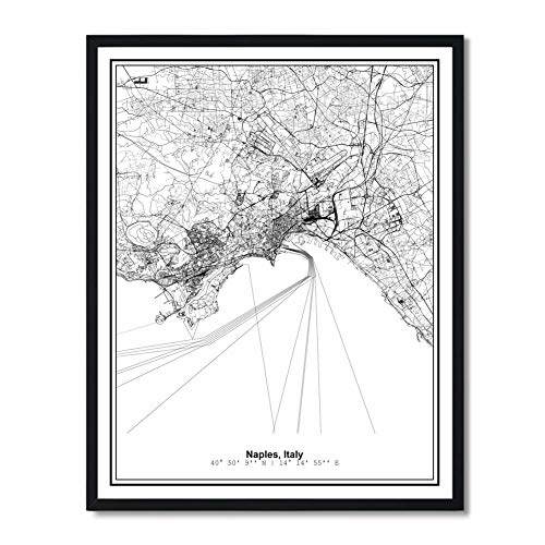 Susie Arts 11X14 Unframed Naples Italy Metropolitan City View Abstract Street Modern Map Art Print Poster Wall Decor Minimalist Line Art V479