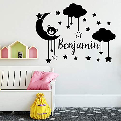 JXMN Nombre Personalizado Pegatinas de Pared decoración de la habitación de los niños Estrellas calcomanías de Vinilo decoración del Dormitorio del bebé Nubes Arte Mural Oso de Peluche 42x54cm