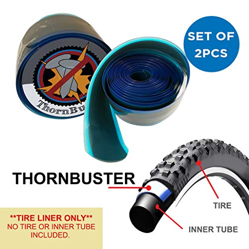 """Thorn Buster, Inner Tube Protecting, Bicycle Tire Liners Pair - Stop Flats for Mountain and Trail Bikes Using Silver 26 x1.5-1.95"""" Bike Tires and Tubes with Hard Durometer Center Strip. (2 Liners)"""