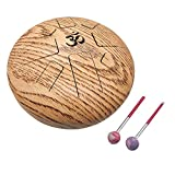 OM Tongue Drum Tank Drum Steel Percussion Hangpan Drum Hand drum Musical Instrument with Bag and Mallets Stick (10 Inch, Brown)