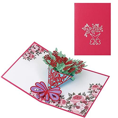 Pop up Karte 3D Blume Grußkarte, Geburtstag Karte für Frauen Freundin, Muttertag Karte, Dankeskarte Geschenkkarte für Freundin Frau Oma am Valentinstag Muttertag Weihnachten