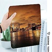 iPad 2/3/4 対応 2つ折りケース スタンド機能 オートスリープ超薄型 傷つけ防止ケース 手帳型カバー 環境にやさしい材質ブルックリンからの夕日ニューヨークのマンハッタン反射シーポート風景プリント