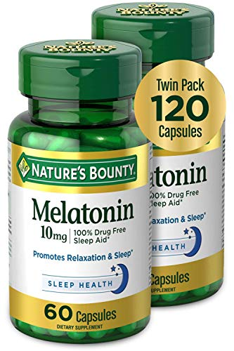 Price comparison product image Melatonin by Nature's Bounty,  100% Drug Free Sleep Aid,  Dietary Supplement,  Promotes Relaxation and Sleep Health,  10mg,  60 Capsules (Pack of 2)