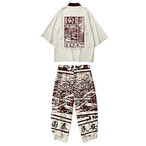 Conjunto de Chaqueta Kimono para Hombre,Pantalones Harem Casuales,Capa con Estampado Retro,Cárdigan Fino de Primavera y Verano de Estilo Japonés,Beige-4XL