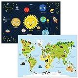 kizibi® Weltkarte und Planeten Poster Set A2 für