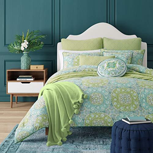 Five Queens Court Ava Bohemian 3 Piece Comforter Set, Green, King 110x96