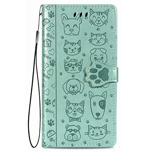 Fertuo Hülle für Samsung Galaxy S20 FE, Handyhülle Leder Flip Case Tasche mit Kartenfach, Magnet und Standfunktion [Katze Hund Muster] Schutzhülle Wallet Cover für Galaxy S20 FE, Grün
