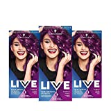 Schwarzkopf LIVE Ultra Bright or Pastel Purple Hair Dye, Pack of 3, Semi-Permanent Colour lasts up...