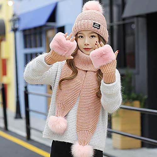 Lot de 3 PCS Ensemble Bonnet + Echarpe + Gants Tricot Femme Chapeau en Laine et Acrylique Hiver Chaud Bonnet d'hiver en Laine Version coréenne de la marée Douce et Belle Sauvage Épais et Coupe-Vent