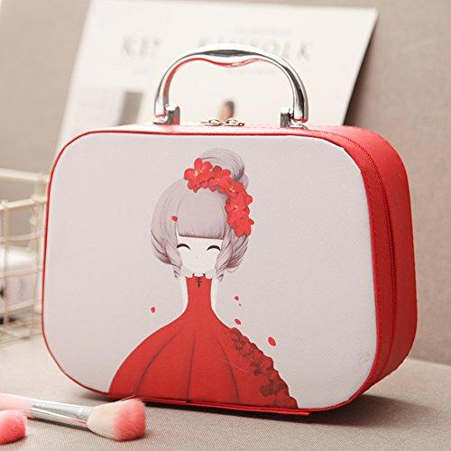 Boîte de rangement cosmétique sac cosmétique cosmétiques plein air voyage mode bain organisateur de maquillage maquillage stockage de brosse de maquillage cadeau de petite amie surprise garçons pour les filles porte-rouge à lèvres sac portable imperméable femme-D