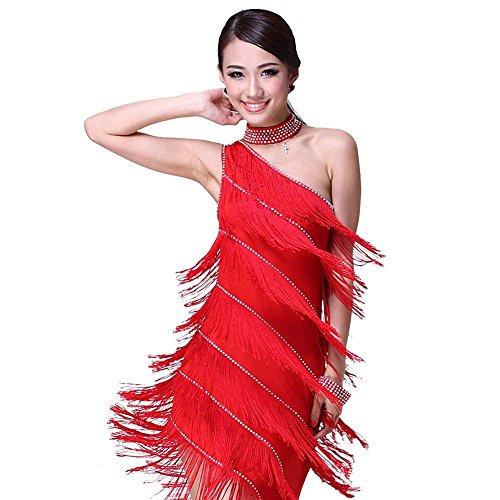 Latein Tanz Kleider Kostüme - Latin Tänze Walzer Tango Swingtanz Party Salsa Dekoration Accessoires Pailletten Quasten Wettbewerb Ball Rock Trikot Tanzkleid für Damen Mädchen - Polyamidfaser (Rot)