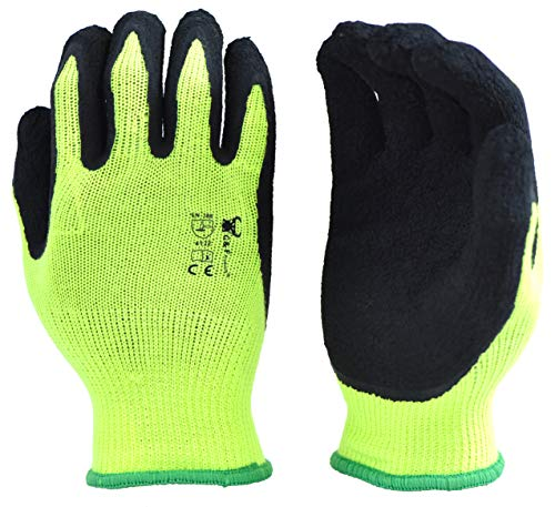 6 Pairs Pack Premium High Visibility Low emissions Green Work and gardening Gloves for Men and...