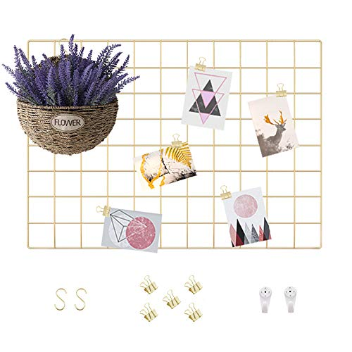 Wall Display and Planning Grid, 2 PCS Mesh Organizing Board of Home and Office for Hanging Pictures, Files and Memo Sheets, Metal Wire Tool and Stationery Storage Panel(Gold, 17.7' x 25.6')