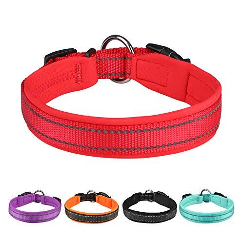 Collar Perro Pequeños Grandes Medianos Reflectante Collar para Perros Acolchado Suave Nylon Neopreno Ajustable Transpirable para la Caminata Diaria Corriendo - Rojo - M
