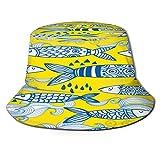 RUEMAT Sombrero Pescador Unisex,Patrón Transparente de Vector de sardinas portuguesas,Plegable Sombrero de Pesca Aire Libre Sombrero Bucket Hat para...