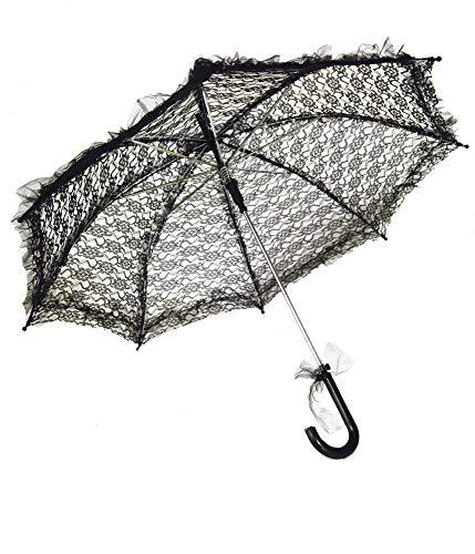 Das Kostümland Sonnenschirm aus Spitze - Schwarz - Romantischer Schirm für Theater Karneval Hochzeit