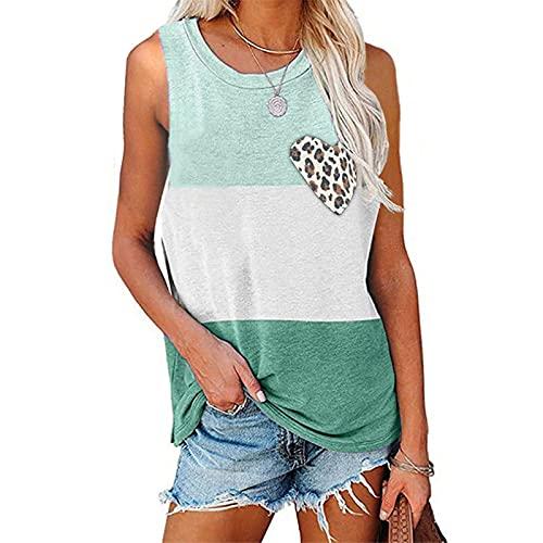 YANFANG Camiseta De Manga Corta Mujer,Camiseta Interior con Bolsillo Estampado Leopardo Y Empalme Casual para Mujer,Camisetas Mujer,Blusas Mujer Tallas Grandes,Verde,XL
