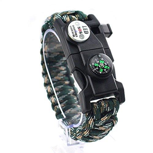 GITVIENAR Homme Femme multifonctionnel extérieur survie Bracelet lumière LED Paracord Bracelet Camping sauvetage Corde Gear kit avec sifflet Boussole Fire Starter, Homme, 2018050742, Mountain Camo