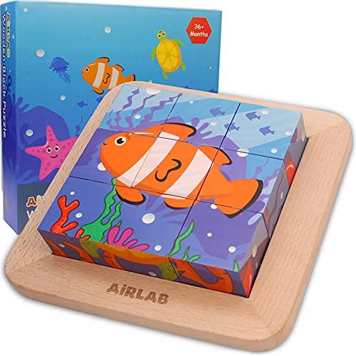 Airlab Bilderwürfel aus Holz, Extra Großes Würfelpuzzle Holzpuzzle mit Meerestier-Motiven, Holzspielzeug Montessori Spielzeug für Kinder, 9 Stück, 4,5 x 4,5 x 4,5cm, Bunt