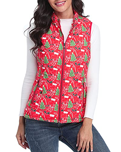 fuinloth Women's Quilted Vest, Stand Collar Lightweight Zip Padded Gilet Red Christmas M