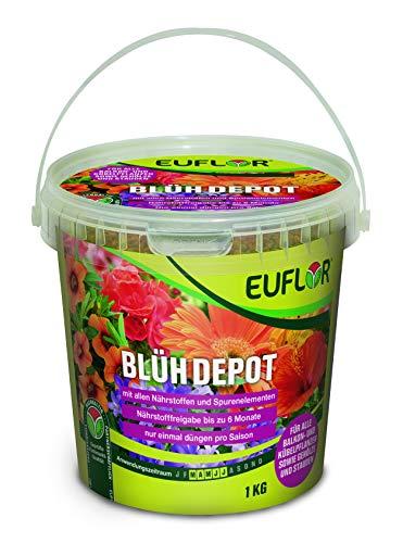 Euflor Blühdepot 1 kg Eimer • Spezialdünger für alle Balkon- und Kübelpflanzen • Langzeitwirkung für bis zu 6 Monate