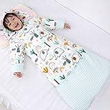 Nwarmsouth Ganzjahres Baby-Schlafsack,Winter Baby verdickte Baumwolle Anti-Kick-Quilt, abnehmbare Ärmel und Langen Schlafsack-gelb_130cm,Baby Pyjama Overall für den Winter