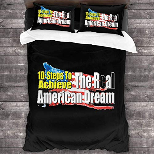 LZMM Blätter 10-Steps to Achieve The Real American Dream 3 Piece Bedding Sets Natural Cotton Floral Ultra Soft Comfortable and Breathable