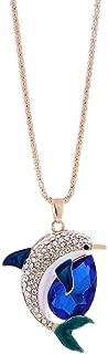 Women Girls Long Sweater Chain Necklace Cuekondy Crystal Rhinestone Cute Dolphin Pendant Statement Jewelry
