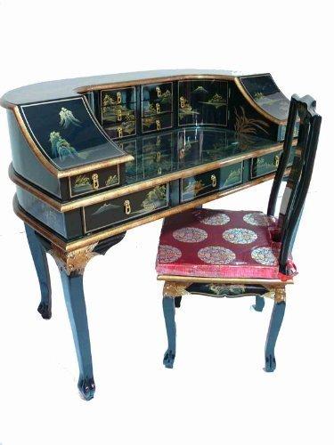 Newquay-Bonsai Nero laccato scrivania e sedia