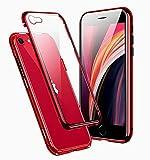 Funda para iPhone SE 2020 Magnética Carcasa,360° Funda Protectora de Cuerpo Completo,Rugged Metal Bumper Antigolpes Case,Cubierta de Cristal Templado con Protector de Pantalla para iPhone SE/8/7,Rojo