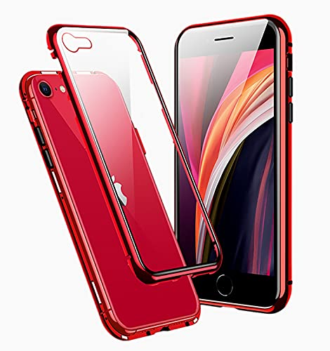 Funda para iPhone SE 2020 Magnética Carcasa,360° Funda Protectora de Cuerpo Completo,Rugged Metal Bumper Antigolpes Case,Cubierta de Cristal Templado con Protector de Pantalla para iPhone SE/8