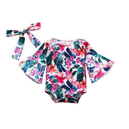 Cover Kleidung Mädchen Sommer Glockenärmel Strampler Blumen + Haarband Overall Outfit Bekleidungsset
