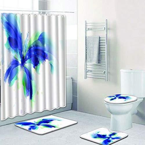 Cortina De Ducha Impermeable De Poliéster Moderna Y Simple Baño Antideslizante Alfombrilla De Inodoro Almohadilla De Inodoro Lavable Conjunto De 4 Piezas