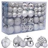 ZFYQ 100Pcs Bolas de Navidad, Juego de Adornos para Colgar Decorativos para Decoración Navideña de Arboles de Navidad, Plata