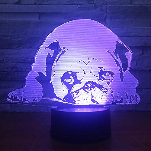 3D Animal Pug Pattern Night Light,Sleep Light,Illusion Lamp,7 Color Change Decorative Lights, Kids Toys Birthday Gift Touch with Remote Control for Baby Adults Bedroom