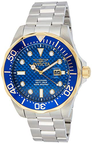 Invicta 12566 Men's Grand Diver Blue Carbon Fiber Dial Stainless Steel Bracelet Dive Watch