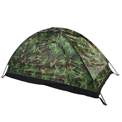 Outdoor Camping Tent Camouflage 1 Person UV Protection Waterproof Family Travel Waterproof Festival Hiking Folding Tents with Portable Carrying Bag