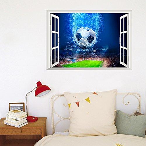 Wajade 3D Wandtattoo Tor Fussball Ball Feld Sport Fußball Tapete Wand Aufkleber Wanddurchbruch sticker selbstklebend Wandbild Wandsticker Wohnzimmer Wandbild Größe 40cmx60cm