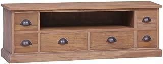 UnfadeMemory Mueble para TV de Estilo Colonial RústicoMueble BajoMadera Maciza de Teca120x30x40cm
