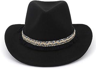 SHENTIANWEI New Fashion Unisex Men Women Wool Felt Trilby Jazz Fedora Hats Ethnic Tassel Ribbon Decor Man Female Lovers Roll Brim Cowboy Hat