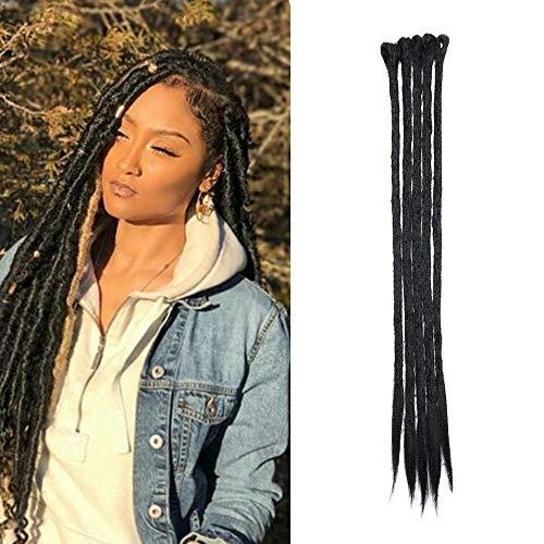 Elailite Dreadlock Extension Capelli per Treccine Lunghe Dread Extension Braids Hair Fibre Treccia Capelli Sintetici 50cm da Donna Uomo, Confezione da 5, Nero Scuro