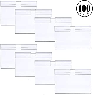 Feeko Label Holder,100PCS Transparent Plastic Price Tag Holders Shelf Retail Merchandise Sign Display Stand Label Holder Suitable for Convenience Store Supermarket Use