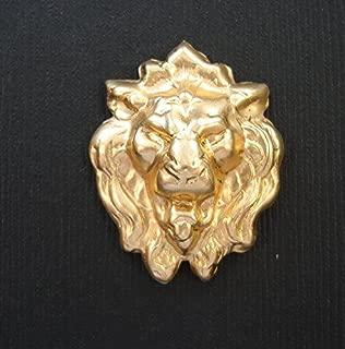 BeadsTreasure 2-Lion Roaring Head Embellishment Raw Brass Stamping Pendant
