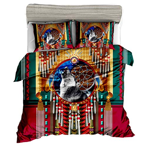 QXbecky Bohemian Totem Sheep Bone Dream Catcher Ethnic Style high-Count high-Density   3D Bedding Quilt Cover Pillowcase 3-Piece Set