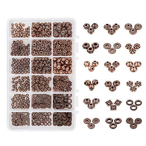 PandaHall PH 540 stücke 18 Arten Rot Kupfer Tibetischen Legierung Spacer Perlen Schmuckzubehör für Armband Halskette Schmuck Machen