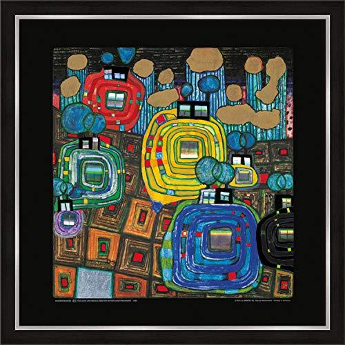 artissimo, Premium-Kunstdruck gerahmt, 53x53cm, AG4685, Friedensreich Hundertwasser: Pavilions and Bungalows, Bild mit Rahmen, Wandbild, Poster, Wanddekoration